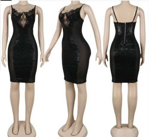 USA-Women-Deep-V-Neck-Sexy-Night-Club-Party-Mesh-Sequined-Party-Mini-Dress-SB