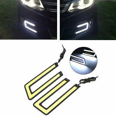 2pcs Super Bright White COB LED Driving Lights DRL Fog Lamp U Shape Waterproof