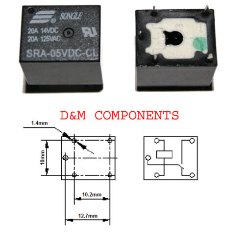 SPDT Pack of:1 2 20A Songle Mini Relay 5-Pins 5V,12V // 10A 5