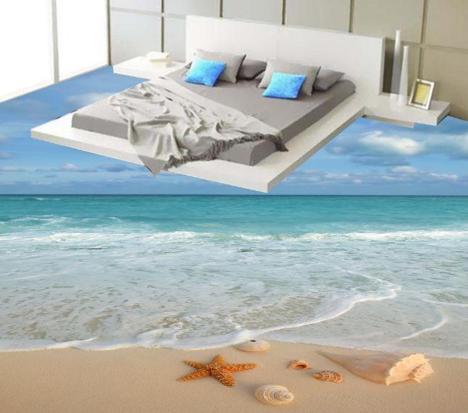 3D cielo sereno Playa Arena Papel Pintado Mural Parojo Calcomanía de impresión de piso 5D AJ Wallpaper