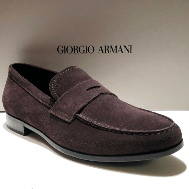 Giorgio Armani Black Label Mens Africa Brown Suede Loafer Dress