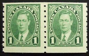 Canada Scott #238 Coil Pair, MNH 1cent King George VI,1937,  Nice Margins!