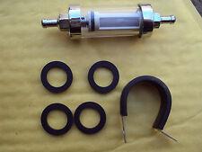 8mm UNIVERSALE VETRO CHROME InLine FUEL FILTER & Ricambio FOCHE E STAFFA INOX