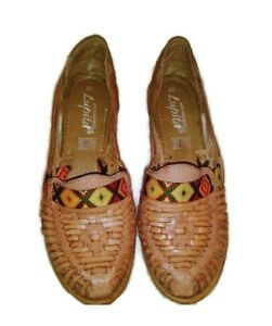 a7c9d2c8fee3f Details about Artesanias Lupita Leather Wedge Sz EU 25 US 9 Women's Mexican  Slip on Shoes Art