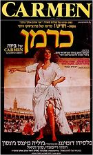 "1984 Israel OPERA MOVIE POSTER Film ""CARMEN"" Hebrew MIGENES DOMINGO MAAZEL BIZET"