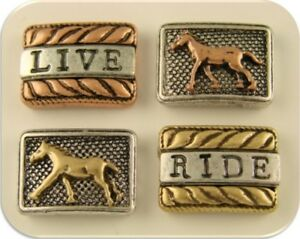 "2 Hole Beads Horse ""LIVE"" to ""RIDE"" ~Equestrienne Western 3T Metal Sliders QTY 4"