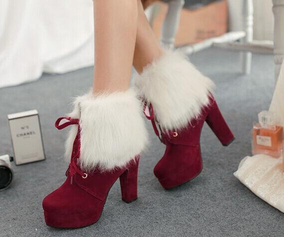 Stiefeletten stiefel damenschuhe absatz 13 cm rot heiß komfortabel simil gämse