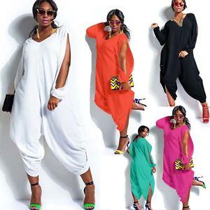 New Women Long Sleeve Chiffon Romper Baggy Harem Jumpsuit Plazzo ...