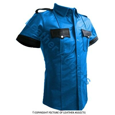 *NEW BLUE & BLACK*  Very sexy Mens Pure LEATHER Police Uniform Shirt BLUF Gay