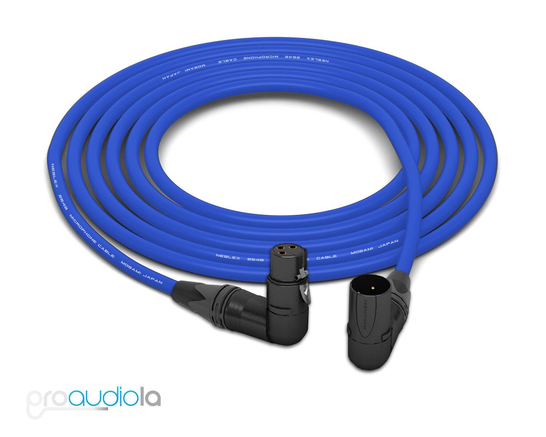 Mogami 2549 Cable   Neutrik Gold XLR Right-Angle   Blau 25 Feet   25 Ft.   25'