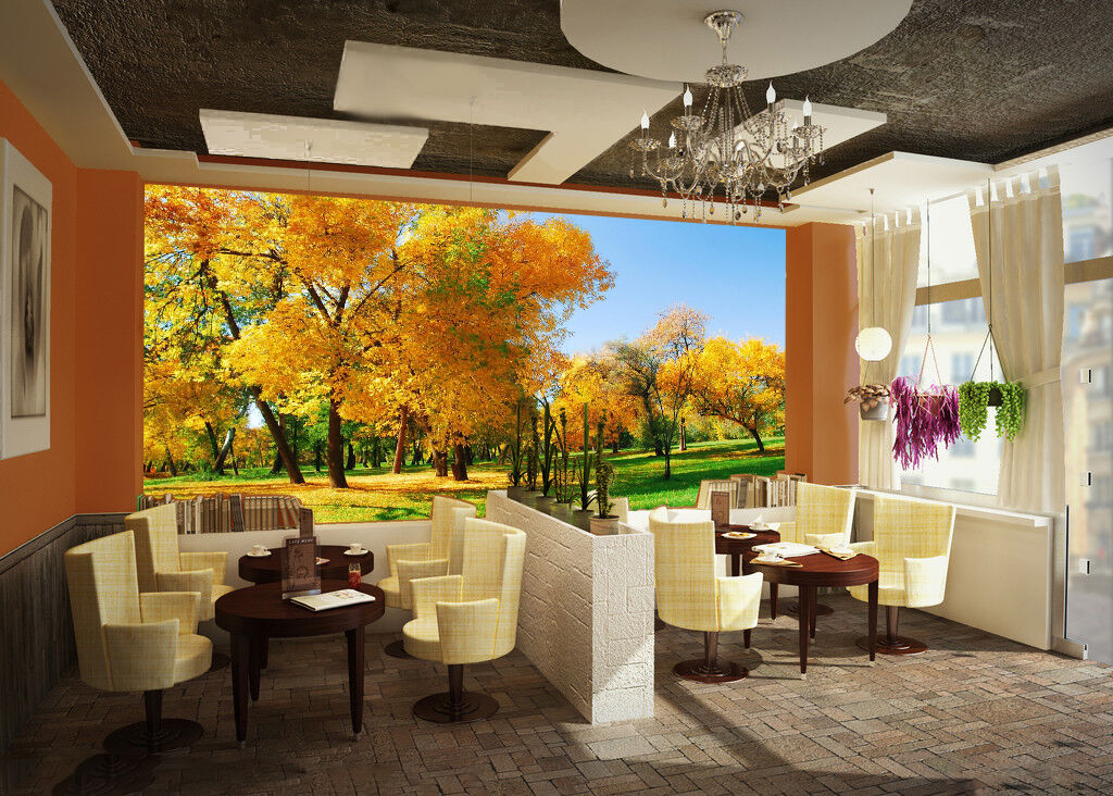 3D Autumn trees 2311 Wall Paper Wall Print Decal Wall Deco Indoor Wall Murals