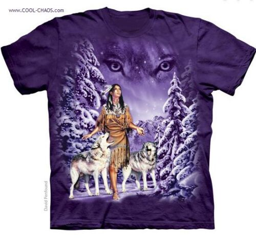 Midnight Wolf Eyes Native American T-Shirt Beautiful Indian Woman Tee
