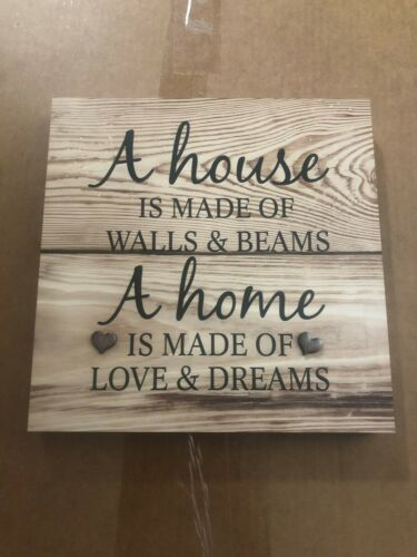 """Wooden Wall Art /""""A House Is Made Of Walls And Beams/"""""""