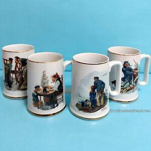 Norman-Rockwell-Nautical-Theme-Vintage-1985-Porcelain-Collectible-Mug-Set-of-4
