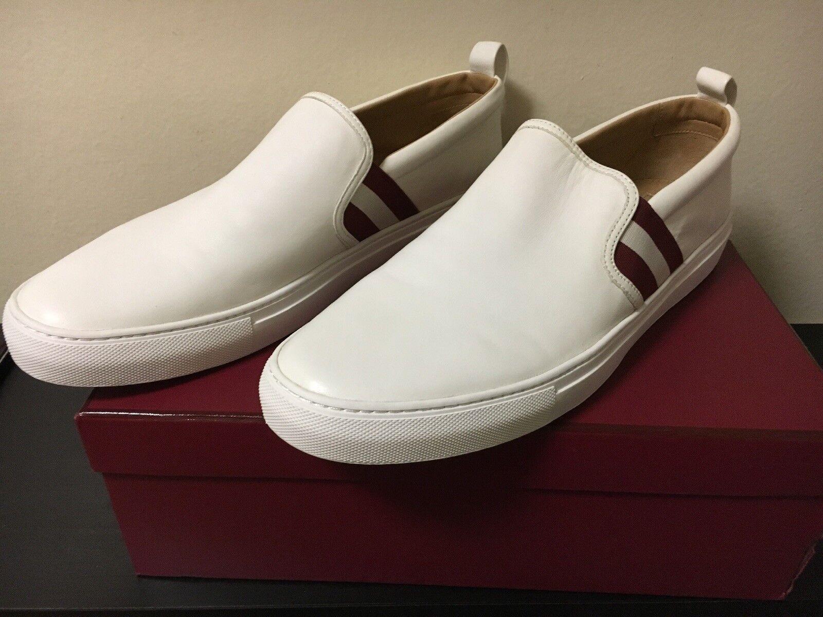 New Bally Men's Herald 200 bianca Nappa Lamb Leather Loafer scarpe Dimensione 12.5 US