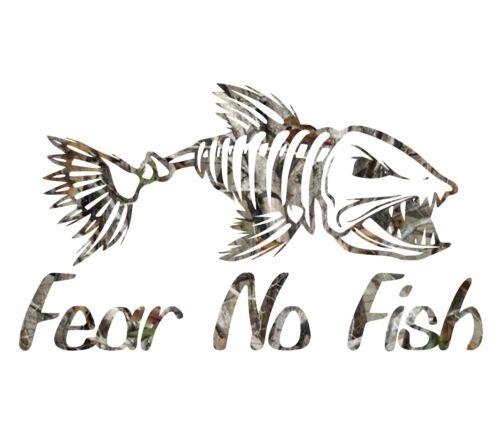 Camouflage fear no fish skillet sticker camo print