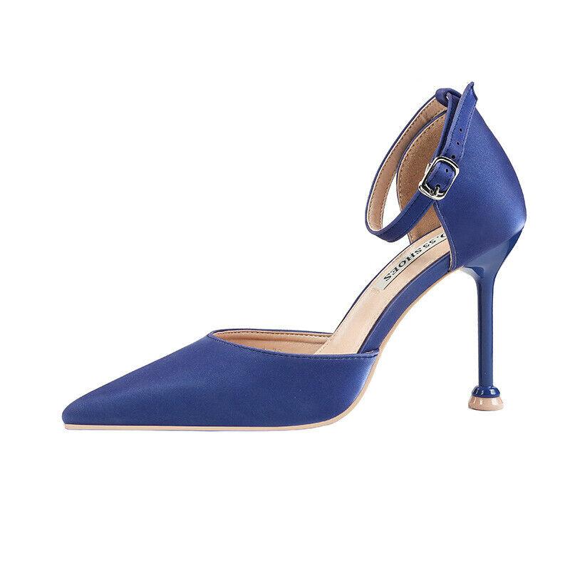 Schuhe Pumps Elegant Stilett 10 cm Blau Poliert Bequem Leder Kunststoff 1563