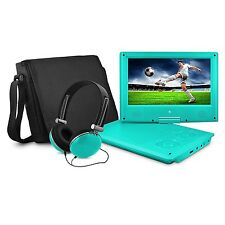 "Ematic 9"" Swivel, Teal, Portable DVD Player with Matching Headphones and Bag New"
