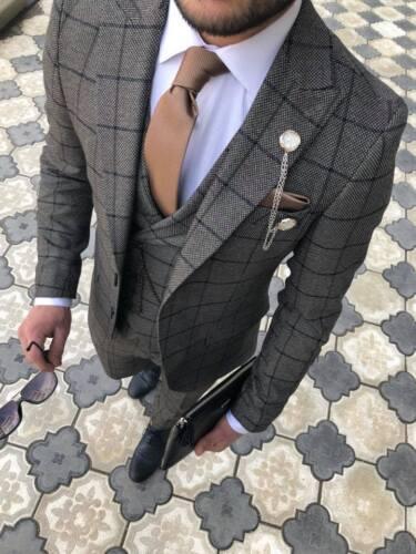 quadri vestibilità uomo da grigio lavoro slim Pantaloni a Business Vest da firmati Blazer wBaCnqAH4