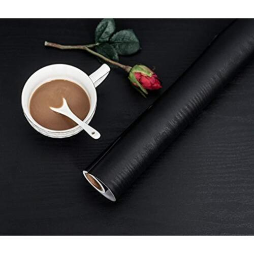 """Black Wood Contact Paper 11.8/"""" X 78.7/"""" Decorative Self-Adhesive Film For Easy To"""