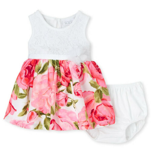 NWT The Childrens Place Baby Girls Floral White Lace Rainbow Striped Dress