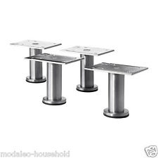 4x Small IKEA CAPITA 8 9cm Stainles Steel Kitchen Cabinet Legs For METOD UK