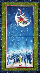 Christmas-Whimsical-Santa-Blue-Cotton-Fabric-P-amp-B-More-Merriment-24-034-X44-034-PANEL