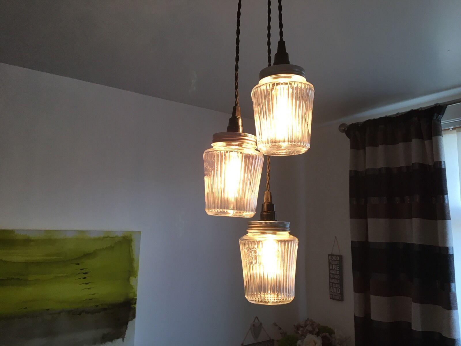 Cluster of 3 Kilner Vintage Preserve Jam Jar Ceiling Pendant Light