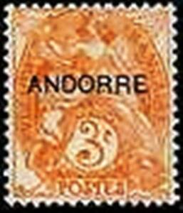 ANDORRE-FRANCAIS-STAMP-TIMBRE-N-4-034-TYPE-BLANC-3c-ORANGE-034-NEUF-xx-LUXE
