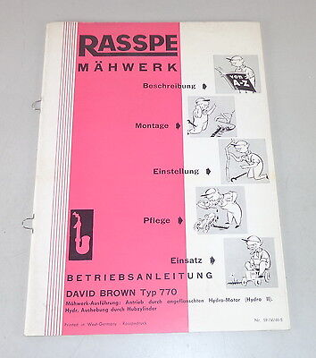 Motors Operating Instructions Rasspe Mower For David Brown Type 770 Stand 04/1959 Industrial