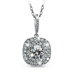 FASHION ATTITUDE 18k white gold gp CZ square pendant necklace classic design