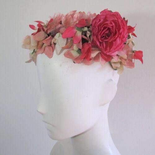 Vintage 1940s Pink Floral Hat