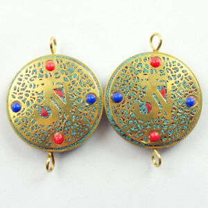31x6mm-2Pcs-Nepal-Rare-Earth-Bronze-Coral-Turquoise-Round-Pendant-Bead-NN207