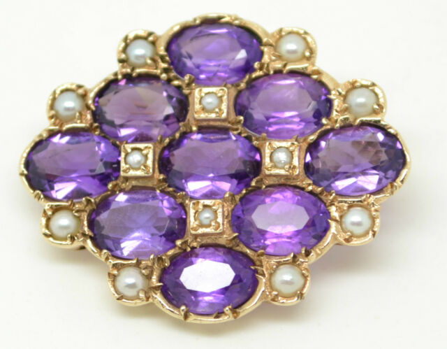 Beautiful Vintage 9ct Gold Amethyst and Seed Pearl Brooch