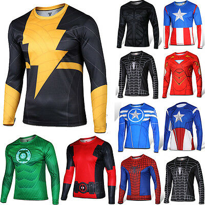 Mens Compression Base Layer Running Cycling T-shirt Shirts Marvel Tee Top Jersey