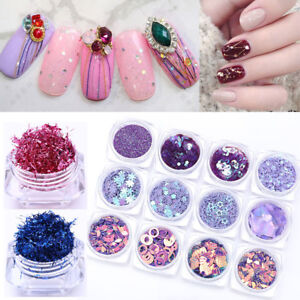 Charming-Nail-Sequins-Kit-Strips-Paillettes-Glitter-Tips-DIY-Decoration-Stickers