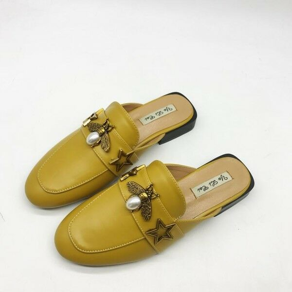 Sandale ciabatte primavera giallo verde basse moda simil pelle eleganti 9745