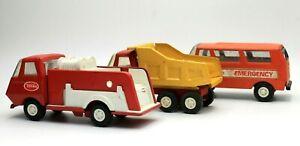 Tonka-Emergency-Vehicles-Dump-Truck-Lot-of-3-Vintage-Pressed-Steel-Trucks