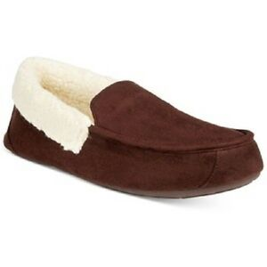 $97 CLUB ROOM Men BROWN MOCCASIN LOAFER MEMORY FOAM FAUX-FUR SLIPPERS SHOE 11-12 for cheap