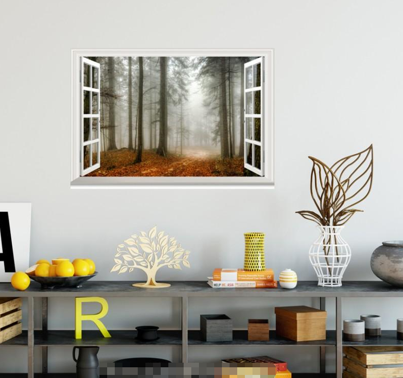 3D Defoliate 622 Open Windows WallPaper Murals Wall Print Decal Deco AJ Summer