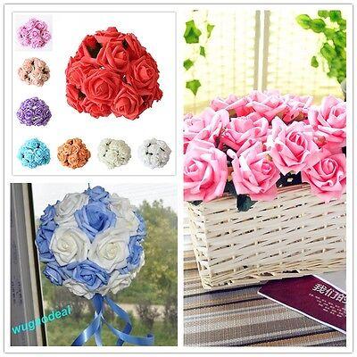 Valentine 3/6 cm 12-48 Head Latex Artificial Rose Flower For Diy Bouquets Bridal