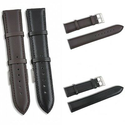 Good Quality Unisex Genuine Leather Smooth Black Brown Watch Strap Band Buckle
