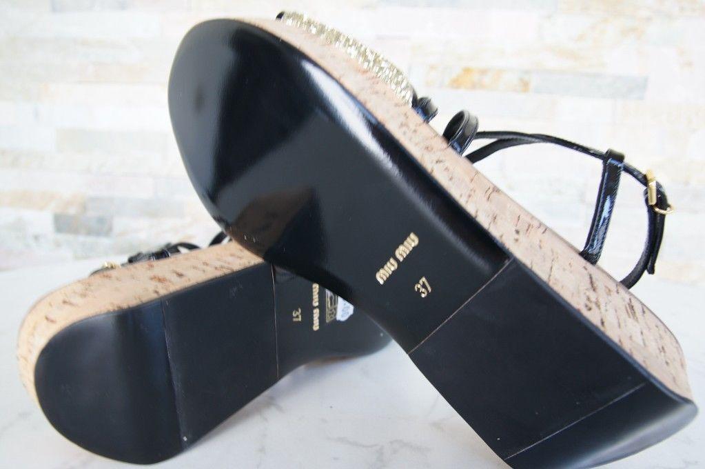 MIU MIU Sandales Gr 37,5 Plateau Sandaletten Sandales MIU Glitter schwarz Schuhe schuhe 13659f