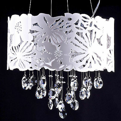 Chloe Pendant Light with Glass Crystals - White