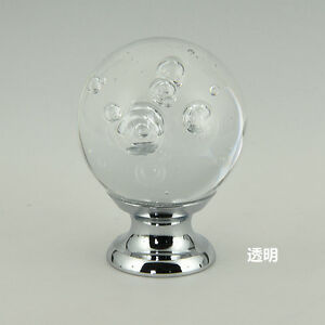 6pcs 30mm Bubble Crystal Glass Ball Knob Cabinet Drawer Dresser Pull Handle