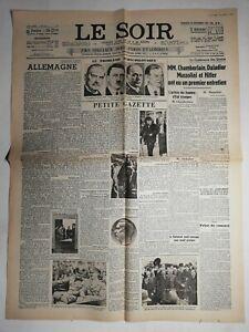 N484-La-Une-Du-Journal-Le-Soir-30-septembre-1938-petite-gazelle-chamberlain