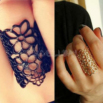Fashion Design Bohemian Style Golden Balck Hollow Out Flower Finger Ring Size 7