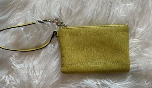 COACH Lime Green Leather Small WRISTLET Clutch Wri