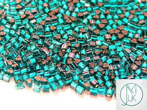 250g-27BD-Silver-Lined-Teal-Toho-Triangle-Seed-Beads-8-0-3mm-WHOLESALE