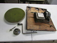 EARLY Phonograph UNKNOWN Mfg MOTOR, Crank, WOOD MOUNT, & Platter - WORKING COND